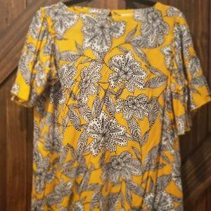 Loft short sleeve yellow/black blouse